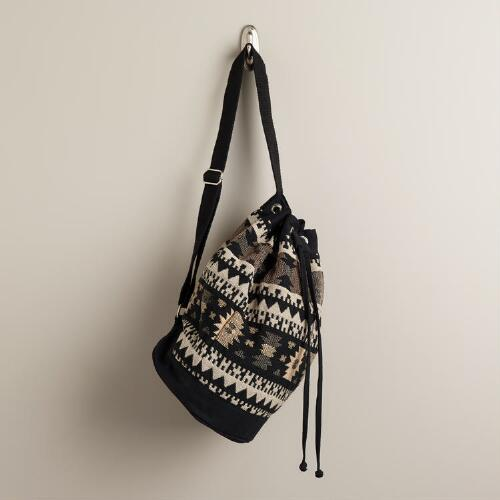 Black and Cream Tribal 1-Strap Bag