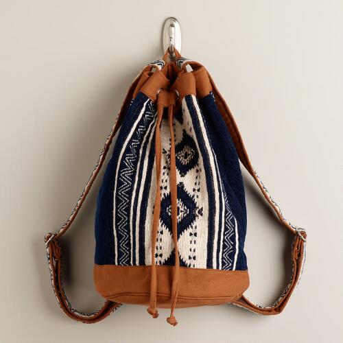 Blue and Tan Tribal Woven Backpack