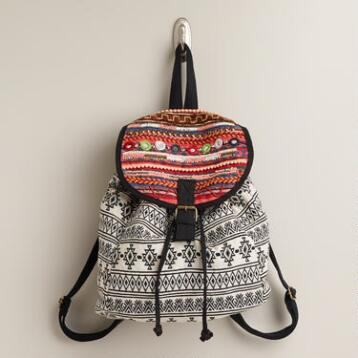 Black and Ivory Ikat Beaded Backpack