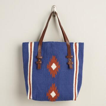 Navy Southwest Woven Tote