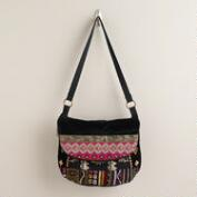Black Multicolored Patch Foldover Bag