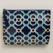 Large Blue Leather Tile Clutch Wallet