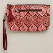Red Leather Mosaic Zip Pouch Wallet