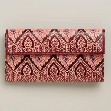 Red Leather Mosaic Wallet