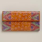 Orange Leather Geo Print Wallet
