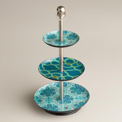 Blue Geo Floral Three-Tired Jewelry Stand