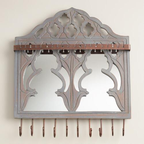 Gray Wall Jewelry Holder with Mirror and Hooks