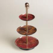 Red Floral Paisley Three-Tired Jewelry Stand
