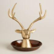 Antique Gold Stag Head Jewelry Stand