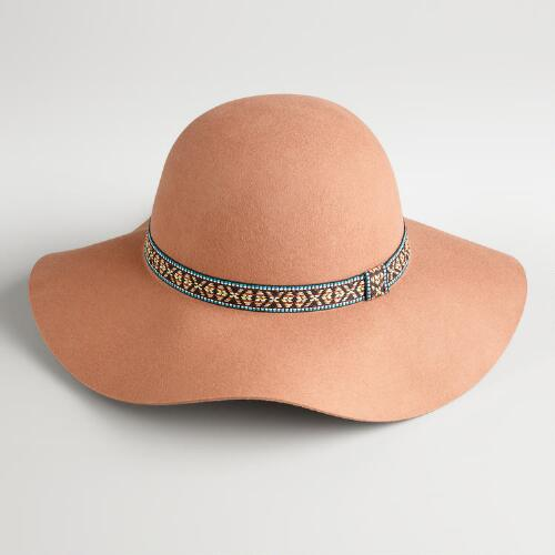 Tan Floppy with Jacquard Band Hat