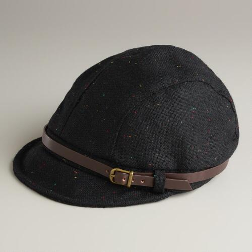 Black Cap with Leather Band