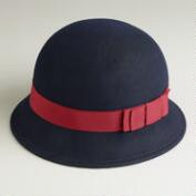 Navy with Red Bow Cloche Hat