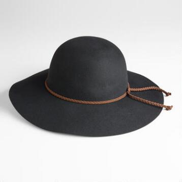 Black Floppy Hat with Braided Tie