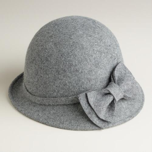 Gray Wool Cloche Hat with Bow