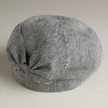 Gray Tweed Beret with Bow Hat