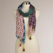 Blue Multicolored Patchwork Scarf