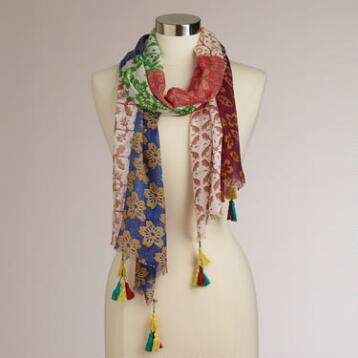 Red Multicolored Patchwork Scarf