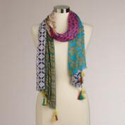 Orange Multicolored Patchwork Scarf