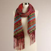 Red Embroidered Scarf