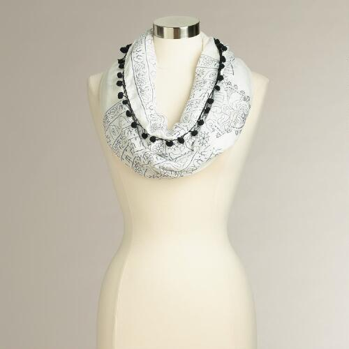 White and Black Print Pom Pom Infinity Scarf