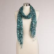 Teal and White Floral Infinity Scarf with Fringe