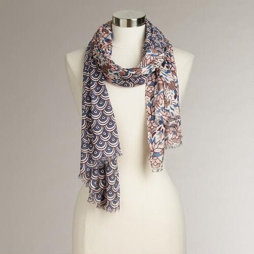 Neutral Abstract Geo Scarf