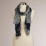 Blue Animal and Paisley Print Scarf