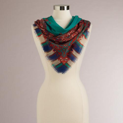 Teal and Red Paisley Stripe Square Scarf