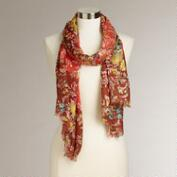 Red Autumn Floral Scarf