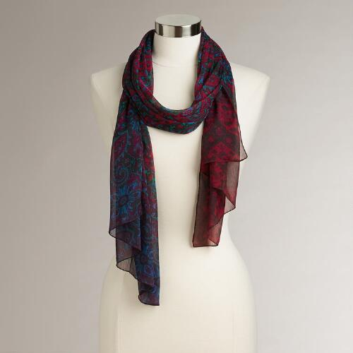 Red & Blue Paisley Scarf