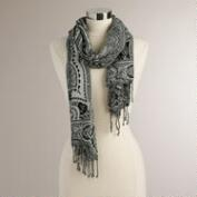 Gray Paisley Scarf with Tassels