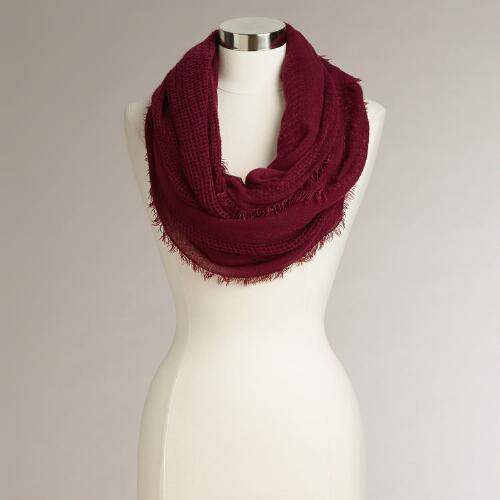 Wine Fringe Woven Infinity Scarf