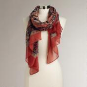 Rust and Blue Tribal Paisley Scarf