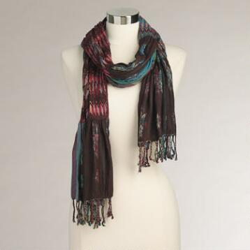 Multicolored Jacquard Fringe Scarf