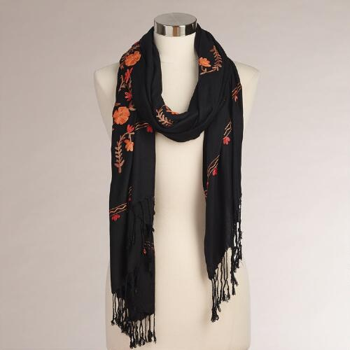 Black and Orange Autumn Leaves Scarf