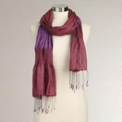 Purple Puckered Silk Scarf