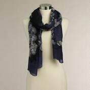Blue, Black and Purple Paisley Scarf