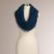 Woven Blue Infinity Scarf with Fringe