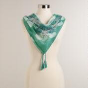 Mint Medallion Square Scarf with Tassels