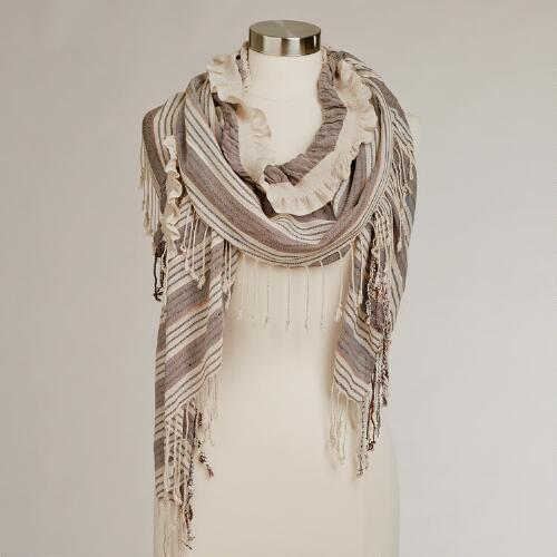 Natural Ruched and Striped Scarf