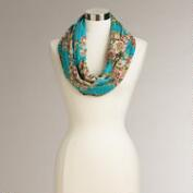 Blue Floral Kantha Infinity Scarf
