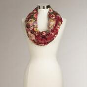 Wine Floral Kantha Infinity Scarf