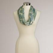 Gray and Green Abstract Floral Infinity Scarf