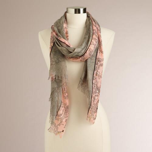 Gray and Pink Floral Paisley  Scarf with Gold Foil