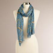Blue and Beige Frayed Scarf