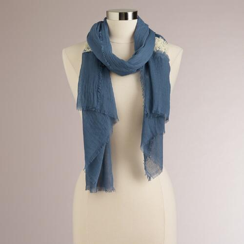Blue Lace Panel and Frayed Edge Scarf