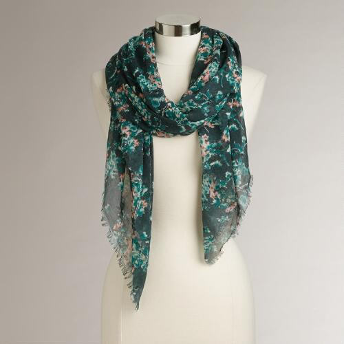 Teal and Mint Floral Scarf