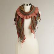 Multicolored Striped Ruched Scarf with Fringe