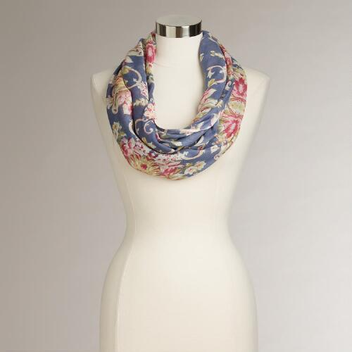 Blue and Pink Flowers Infinity Scarf
