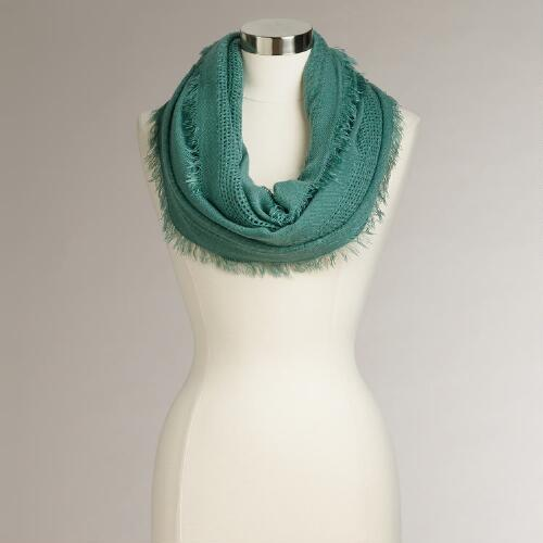Green Fringe Woven Infinity Scarf